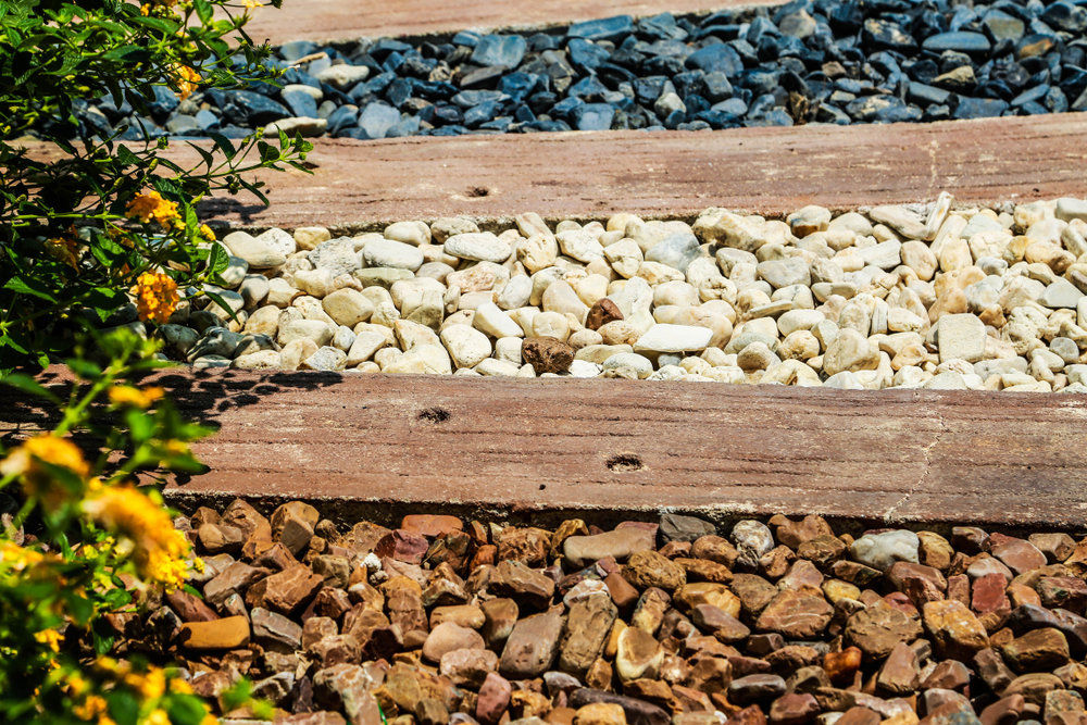 a selection of various landscaping rock colors