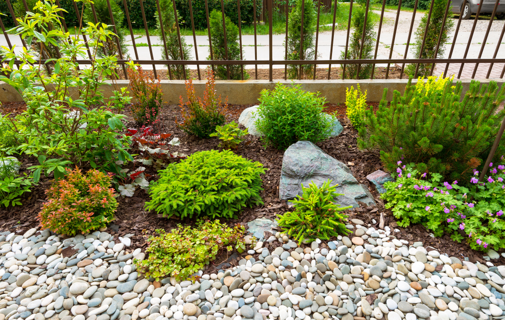 garden with landscaping rocks